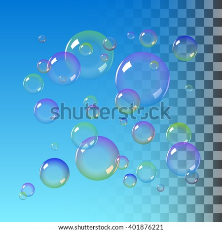 Realistic soap bubble with rainbow colors. Water soap bubble on blue background. vector soap bubble illustration. Realistic Soap Bubble set. Soap bubble background. Transparent soap bubble.  - stock vector