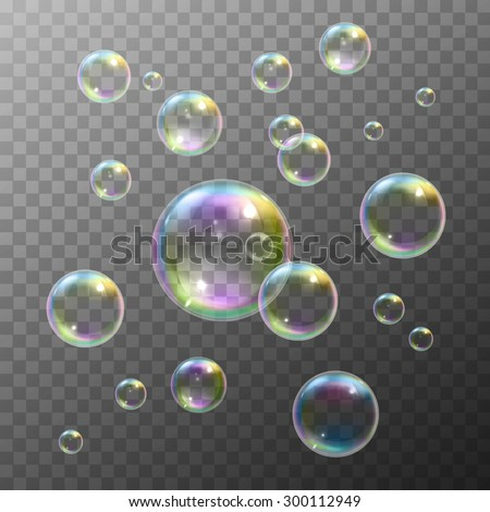 Realistic soap bubbles with rainbow reflection set isolated vector illustration - stock vector