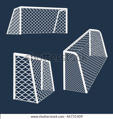 Realistic  soccer  goals with perspective.  vector illustration. - stock vector