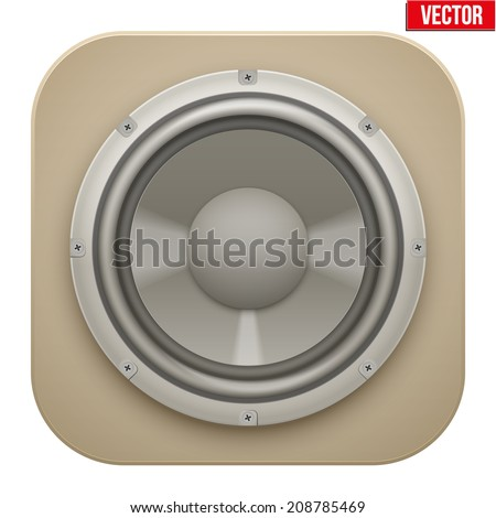 Realistic sound load Speaker icon. Music Vector illustration isolated on white background.