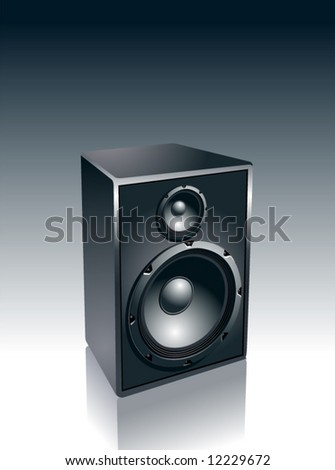 Realistic speaker on black-and-white background