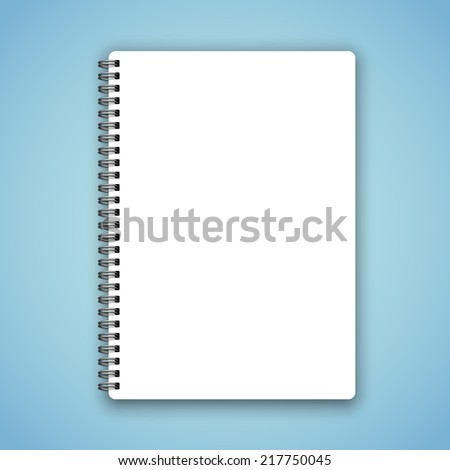 Realistic spiral vector blank notebook on calm blue background - stock vector