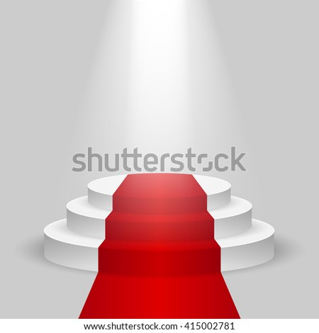 Realistic stage with Red carpet and the spotlight, the Red carpet on empty white podium, place for product placement for presentation, winners podium or stage with the Red carpet, background, vector - stock vector