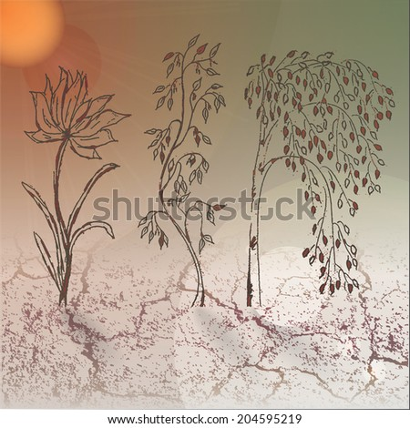 Realistic still life with hand drawn flower and trees growing from the ground, blue sky and glowing sun. - stock vector