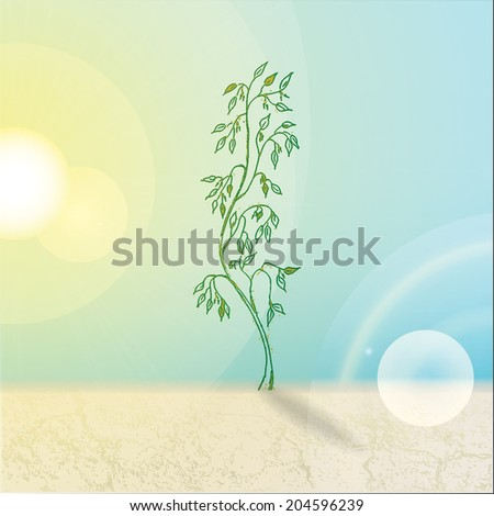 Realistic still life with hand drawn tree growing from the ground, blue sky and glowing sun. - stock vector