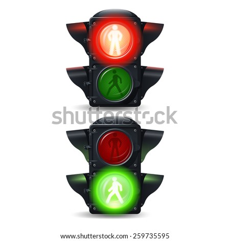 Realistic stop and go pedestrian traffic lights set isolated vector illustration - stock vector