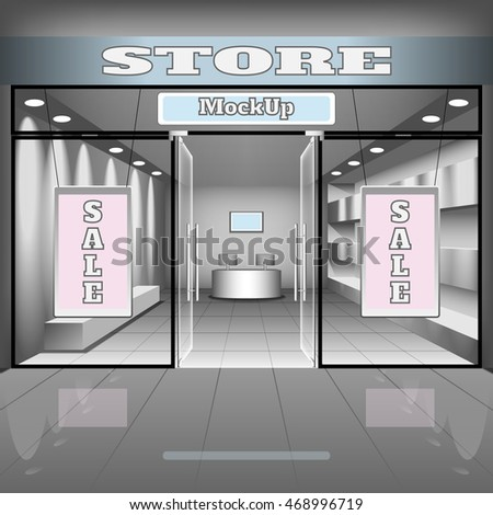 realistic store or office interior template. Boutique illustration with shopwindow, shelves, sale banners.