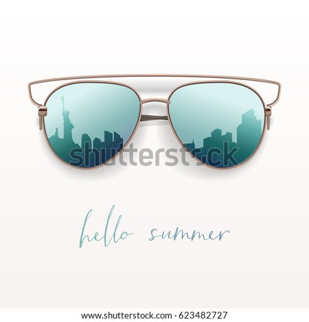 Superbe Realistic Sunglasses. Vector Isolated Element. Hello Summer Card.