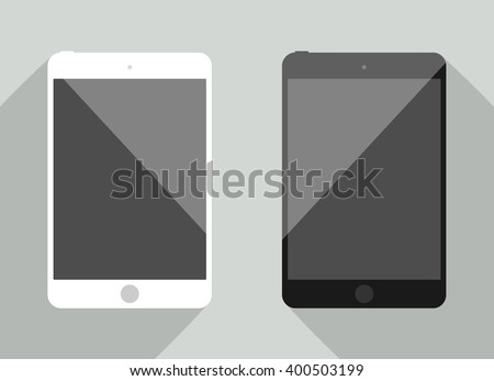 Realistic tablet collection in new ipad style.  White and black device with shadow isolated on gray background. Smart template for your design, web site, development app - stock vector