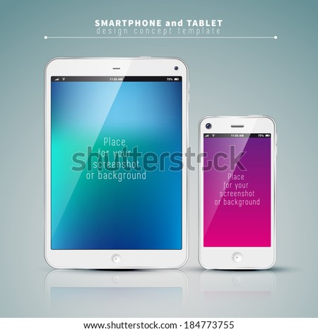 Realistic Tablet PC and phone With color Screen. Vertical, White. On colorful Background. Vector Illustration - stock vector