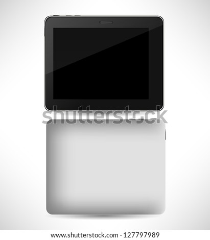 Realistic tablet pc computer with blank screen isolated on white background. Vector  illustration, eps 10