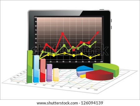 Realistic tablet pc computer with spreadsheet and a paper with statistic 3d charts - stock vector