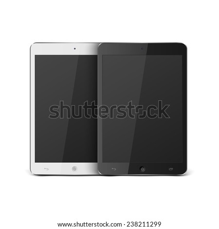 Realistic Tablet PC With Blank Screen.vector - stock vector