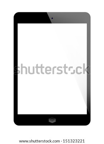 Realistic tablet style with blank screen isolated on white background