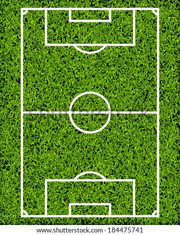 Realistic Textured Grass Soccer Field - stock vector