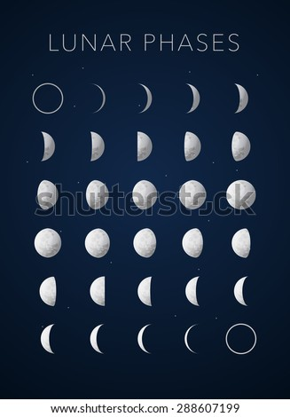 realistic textures Lunar phases on blue, vector