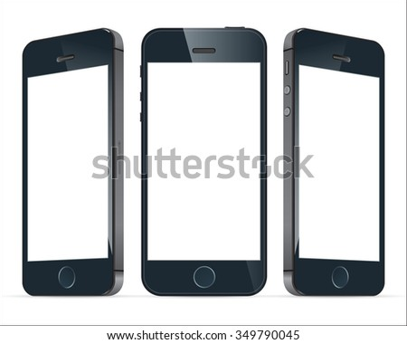 Realistic three black mobile phone with blank screen isolated. Modern concept smartphone devices with digital display. Vector illustration  - stock vector