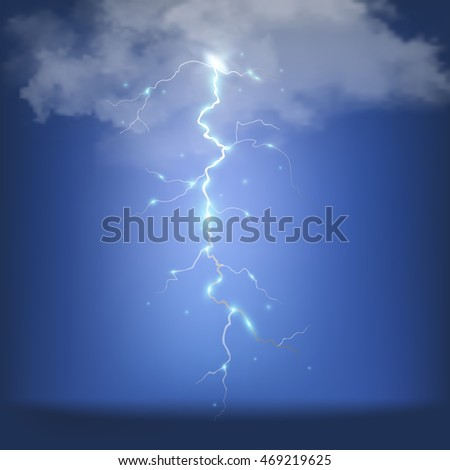 Realistic thunderstorm background. Vector illustration.