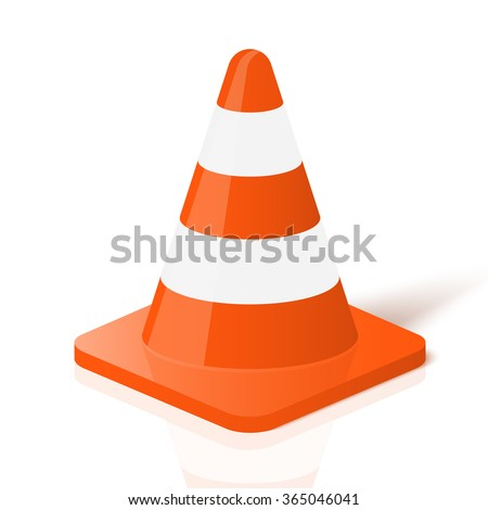 Realistic traffic cone in vector. - stock vector