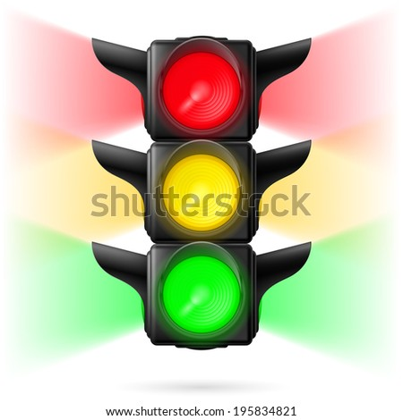 Realistic traffic lights with all three colors on and sidelight. Illustration on white background - stock vector