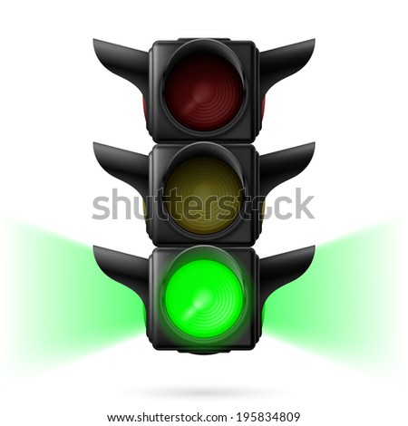 Realistic traffic lights with green color on and sidelight.