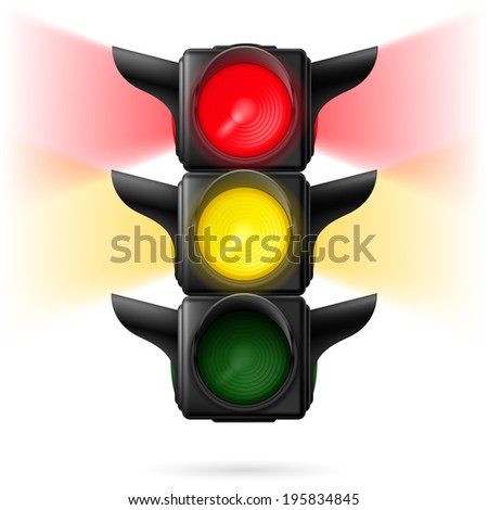 Realistic traffic lights with red and yellow colors on with sidelight. Illustration on white background
