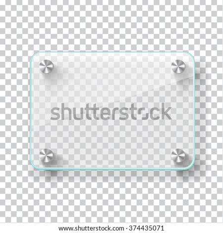 Realistic transparent glass frame on light grey background. Vector eps10 illustration - stock vector