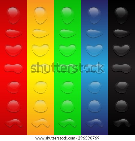 Realistic transparent pure Water Drops collection on Bright color backgrounds - Vector Illustration - stock vector