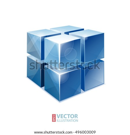 Realistic transparent siny blue cube matrix with glows and flares on white gradient background. RGB EPS 10 vector illustration