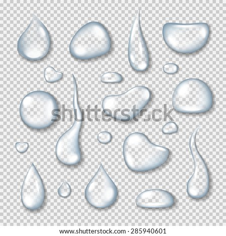 Realistic transparent water drops set on light blue background. Vector eps10 illustration - stock vector