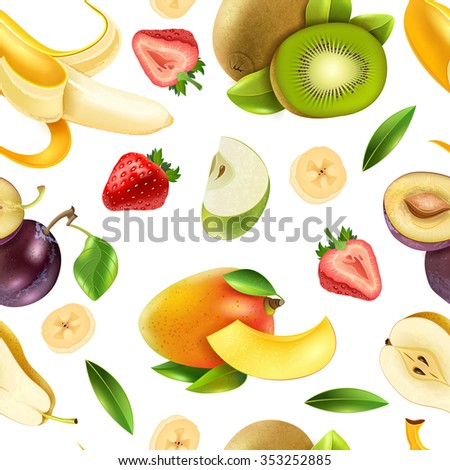 Realistic tropical fruits and  berries seamless tileable colorful pattern design for wrapping paper and textile vector illustration