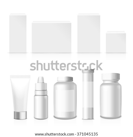 Realistic Tubes, Jar  And Package. Packing White Cosmetics And Medicines Isolated On White Background. You Can Use It For Tube Of Creams, Medication, Chemical, Gel,  Ointments Or Any Other Product - stock vector