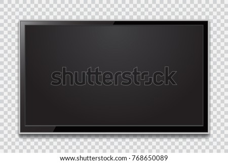 Realistic TV screen. Modern stylish lcd panel, led type. Large computer monitor display mockup. Blank television template.