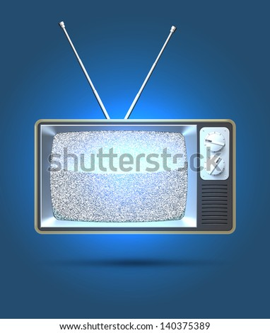 Realistic TV set with white noise on the screen. EPS10 vector - stock vector