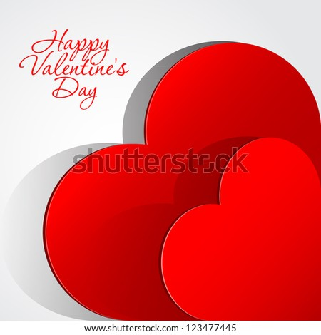 Realistic two Red Heart cut out of paper. Valentine's day or Wedding vector background