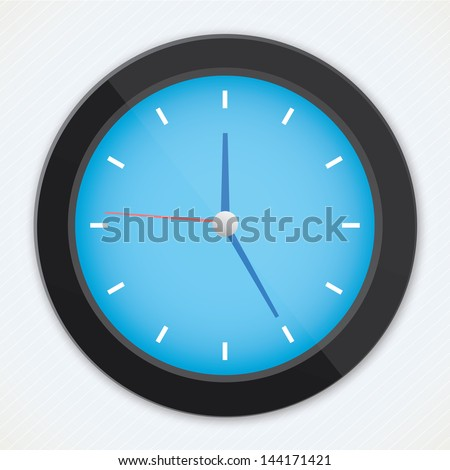 realistic vector black blue clock - stock vector