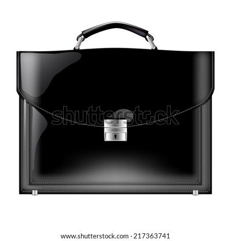 realistic vector black leather briefcase