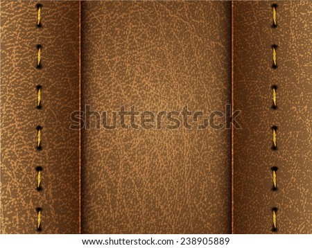 Realistic vector brown leather diary texture and stitches - stock vector