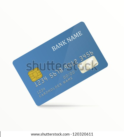 Realistic vector credit card. Blue, without any pattern. EPS10 vector. - stock vector