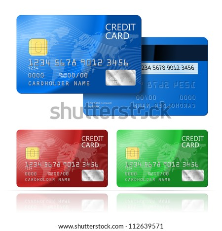 Realistic vector Credit Card two sides, blue, green, red - stock vector