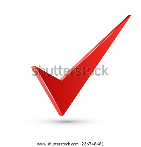 Realistic Vector 3D Red Check Mark - stock vector