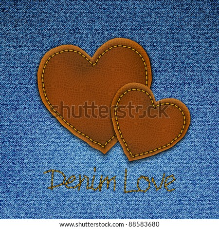 Realistic vector denim background with leather hearts. - stock vector