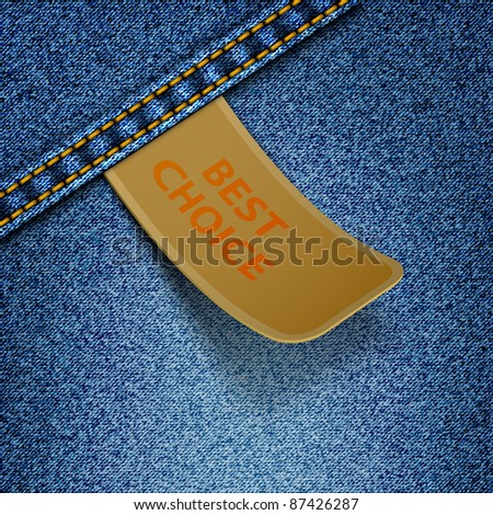 Realistic vector denim background with sticker. - stock vector
