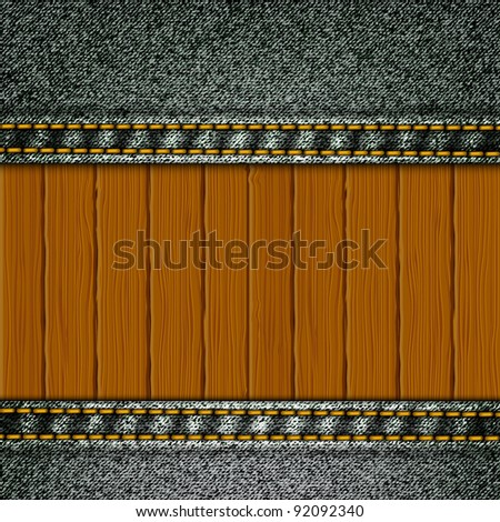 Realistic vector denim background with wood elements. - stock vector