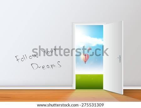 Realistic Vector Empty room with opened door.  - stock vector