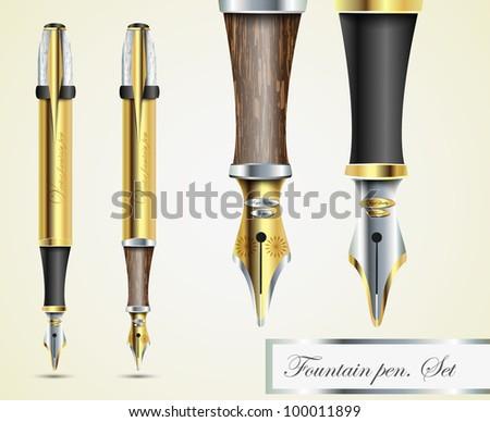 realistic vector fountain pen icons - stock vector