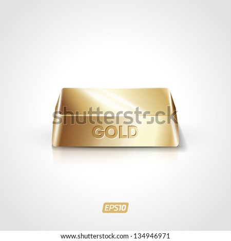 Realistic vector gold bar - stock vector