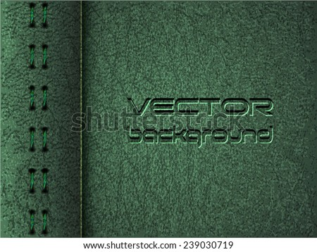 Realistic vector green leather diary texture and stitches - stock vector