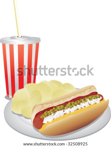 Realistic vector hotdog, chips and drink. - stock vector