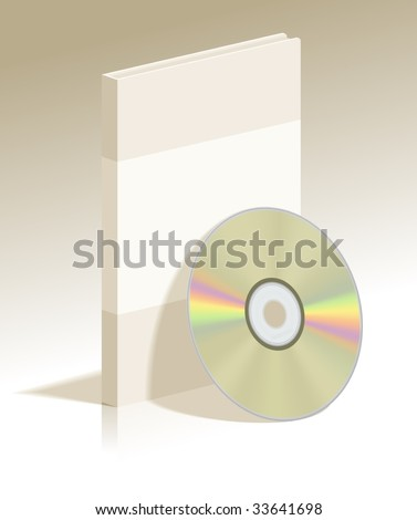 Realistic vector illustration Gold CD disk and plastic box with soft shadow for used in design - stock vector